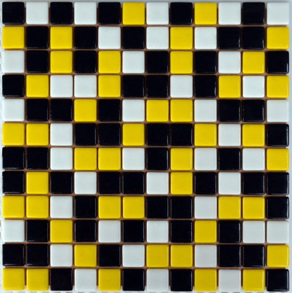 Мозаика стеклянная плитка Черная + желтая + белая FL-S-091.