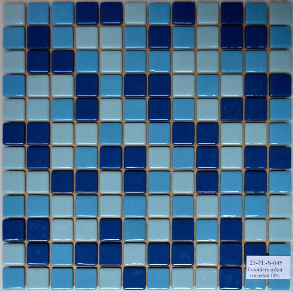 Мозаика стеклянная Синяя + Голубая + Голубая 10% FL-S-045