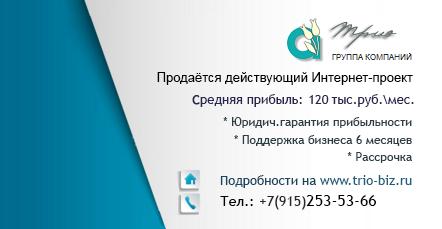 Продаётся действующий Интернет-проект с прибылью 120 тыс.руб.