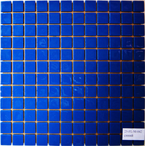 Мозаика стеклянная плитка Синяя стеклянная FL-M-042