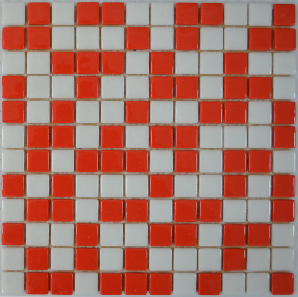 Мозаика стеклянная плитка Красная + Белая FL-S-074
