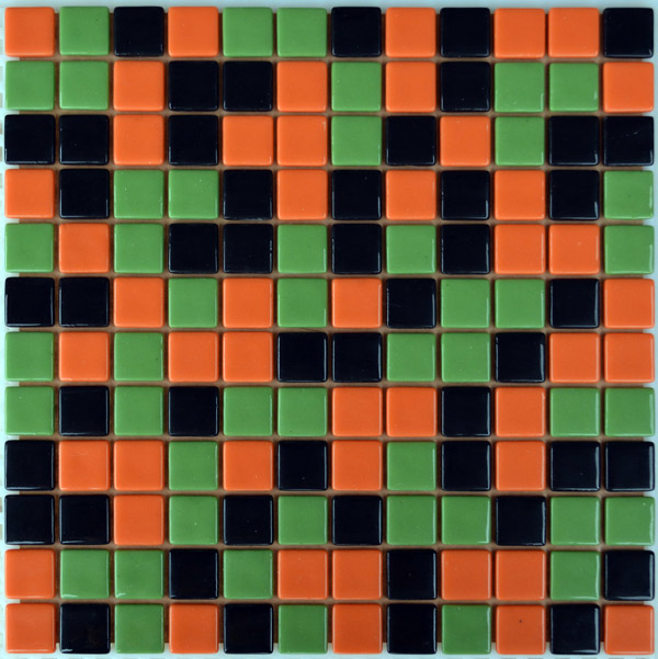 Мозаика стеклянная Черная + зеленая 10% + морковная FL-S-093