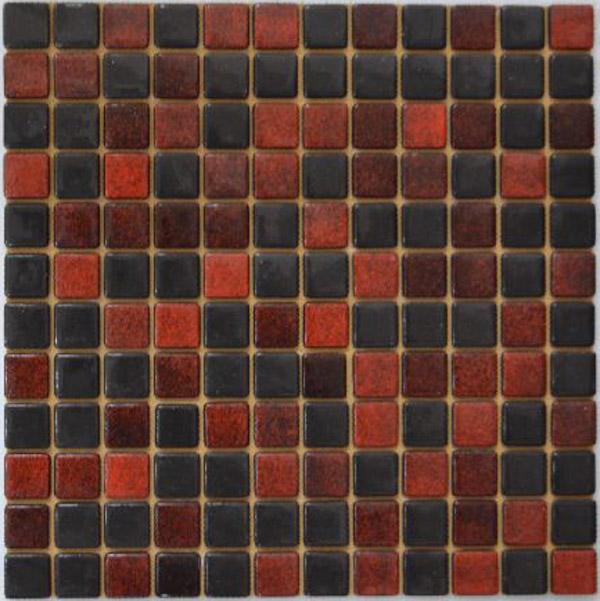 Мозаика стеклянная На Черной Красная + Черная FLP-S-055